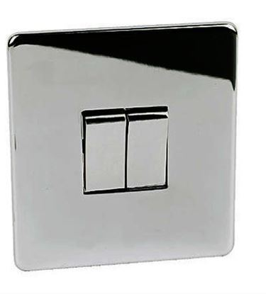 7172/HPC 2 Gang Polished Chrome Light Switch