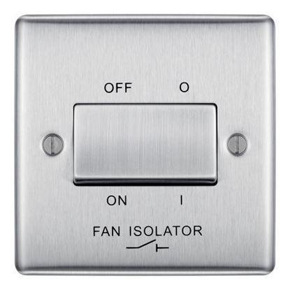 NBS15 BRUSHED CHROME 10X PLATE SWITCH FAN ISOLATOR 3 POLE