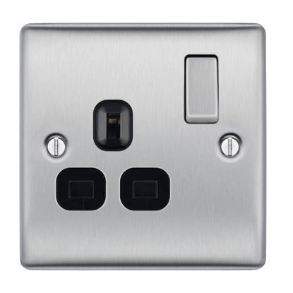 NBS21B BRUSHED CHROME 13A 1 GANG DOUBLE POLE SWITCHED SOCKET BLACK SURROUND