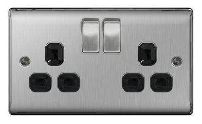 NBS22B BRUSHED CHROME 13A 2 GANG DOUBLE POLE SWITCHED SOCKET BLACK SURROUND