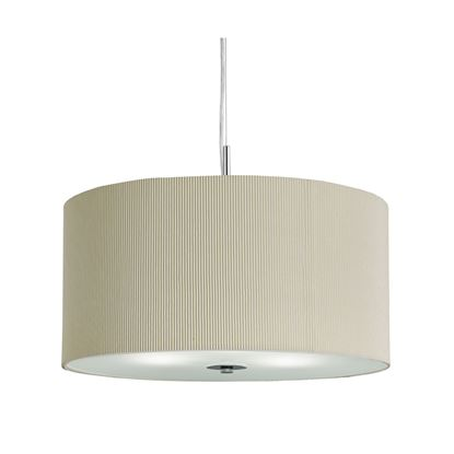 CREAM DRUM PLEAT 3 LIGHT PENDANT WITH FROSTED GLASS DIFFUSER 2353-40CR