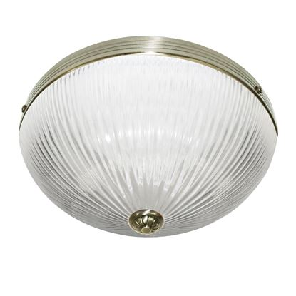 WINDSOR II ANTIQUE BRASS FLUSH LIGHT WITH CLEAR RIBBED GLASS SHADE 4772AB