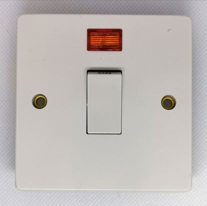 Crabtree 4013/3 Capital White Moulded Double Pole Switch With Neon 32A
