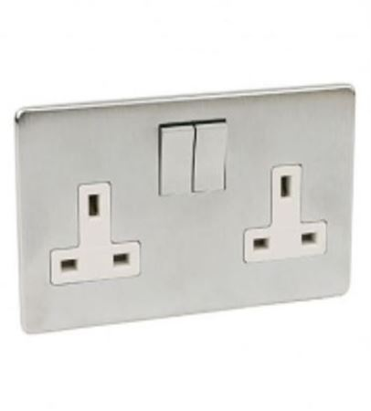 Picture for category Crabtree platinum satin chrome socket & switches