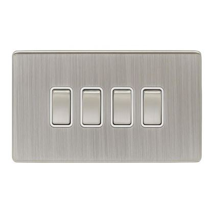Eurolite Low Profile Concealed Fix Satin Nickel 4 Gang 10amp 2way Switch with Matching Rocker and White Insert ECSN4SW SNW